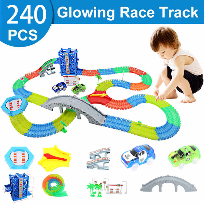 240pcs Magical Track  Collection Kids Birthday Gift Electric Glowing Racing DIY LED Toy Cars Children's Toys For Boys Grils