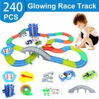 240 stücke Magische Track Sammlung Kinder Geburtstag Geschenk Elektrische Glowing Racing DIY LED Spielzeug Autos kinder Spielzeug Für Jungen grils