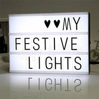 A4 Cinematic Light Box With Letters Cinema LED Table Lamp Sign Message Symbol Board Plaque Home Christmas Valentines Decor Kids