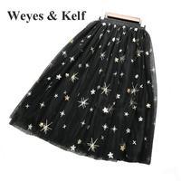 Weyes и кепф Лето Вышивка звезда юбка для Для женщин 2018 весна эластичный пояс юбки Слои юбка трапециевидной формы Длинные Тюлевая юбка женский
