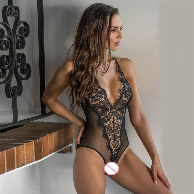 Women Teddy Sexy Lingerie Hot Plus Size Porno Perspective Lace Sex Dress Erotic Underwear Halter Lenceria Sex Babydoll Costumes