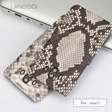 wangcangli For Huawei Mate 7 Luxury handmade real python Skin leather phone case Genuine Leather