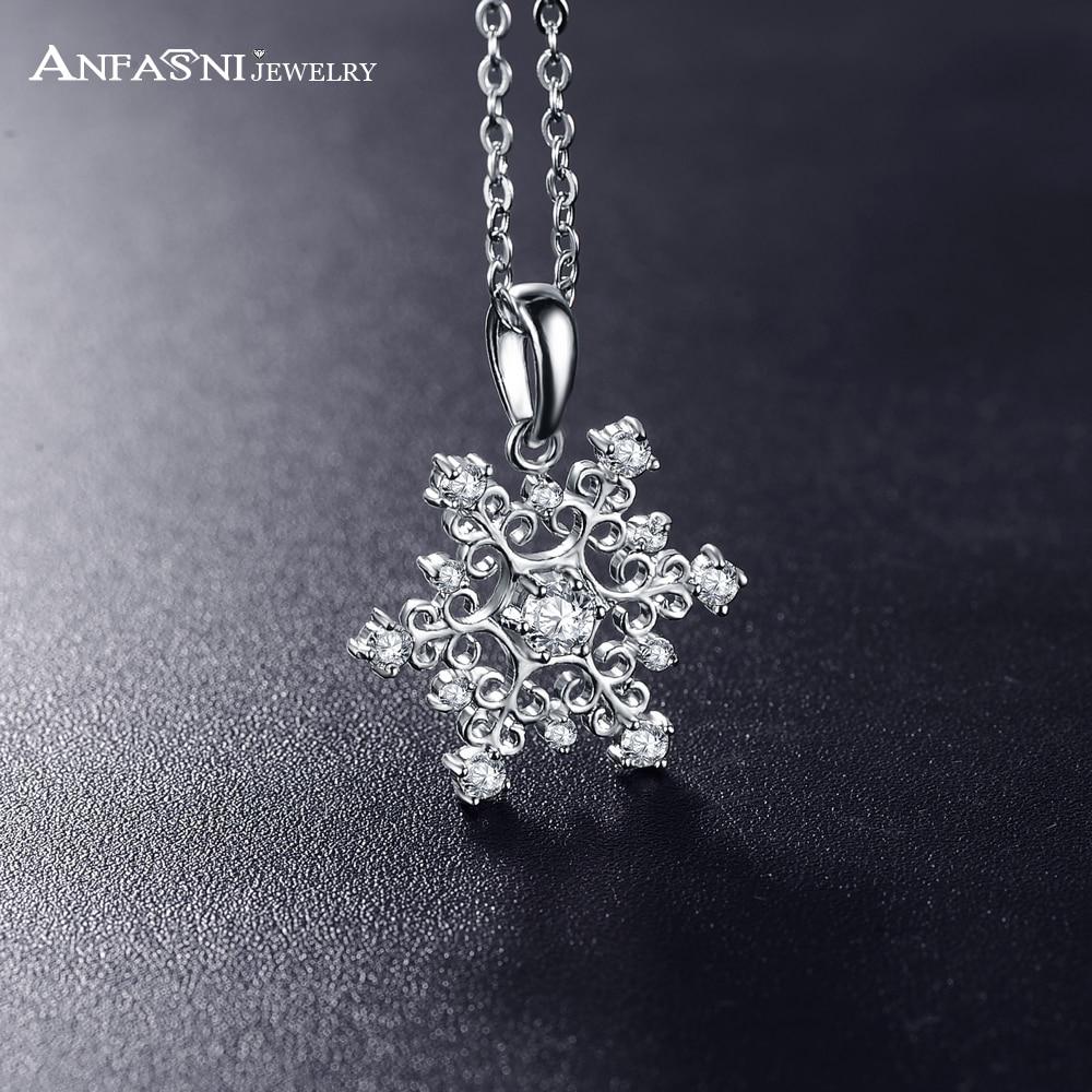 ANFASNI Hotting Sale Christmas Pendant&Necklace Siver Snow Shape Cubic Zircon Pendant Jewelry CNL0215-B