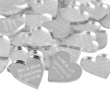 100 piezas personalizado grabado bebé bautismo cuelga amor corazón Decoración de mesa de boda favorece etiquetas personalizadas