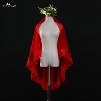LZP329 Real Picture Yiaibridal Bridal Accessories Wedding Veil 1.5 Meters Sequins With Lace Bridal Veil Red Blusher Veil