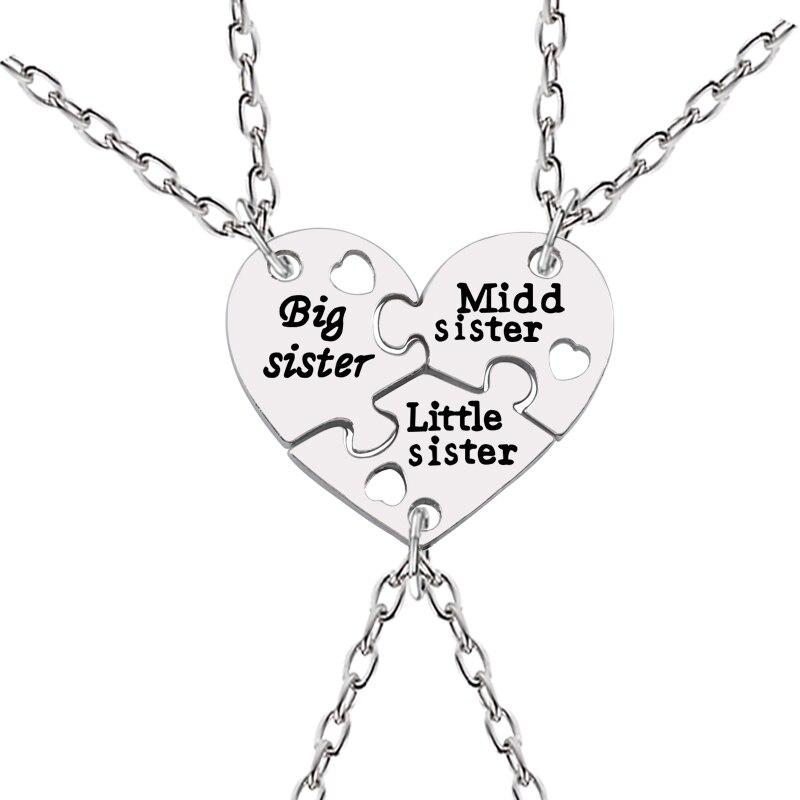 3 Pcs Set Big Sister Middle Sister Little Sister Necklaces Borken Heart Necklace Silver Pendant Necklace Creative Keepsake in Pendant Necklaces from Jewelry Accessories