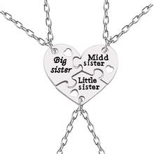 3 Pcs/Set Big Sister Middle Little Necklaces Borken Heart Necklace Silver Pendant & Creative Keepsake