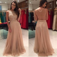 Gorgeous Evening Gown Pearls Beaded Tops Floor Length Sleeveless Wedding Party Dress