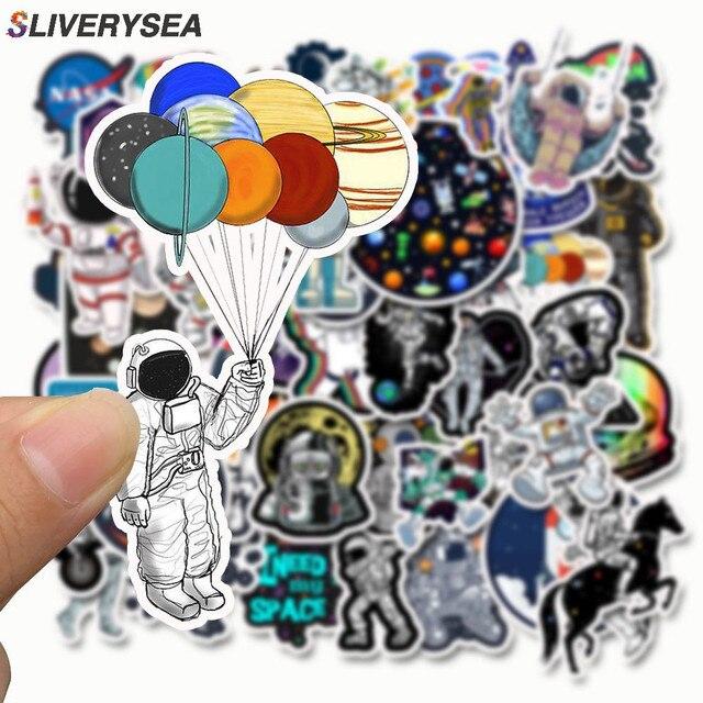 SLIVERYSEA 50 adet dış uzay astronot etiket bavul kaykay dizüstü bagaj buzdolabı telefon araba Styling DIY çıkartma