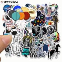 SLIVERYSEA 50 قطعة الفضاء الخارجي رائد الفضاء ملصق لحقيبة سكيت المحمول الأمتعة الثلاجة الهاتف سيارة التصميم لتقوم بها بنفسك ملصق لاصق لامع ورائع