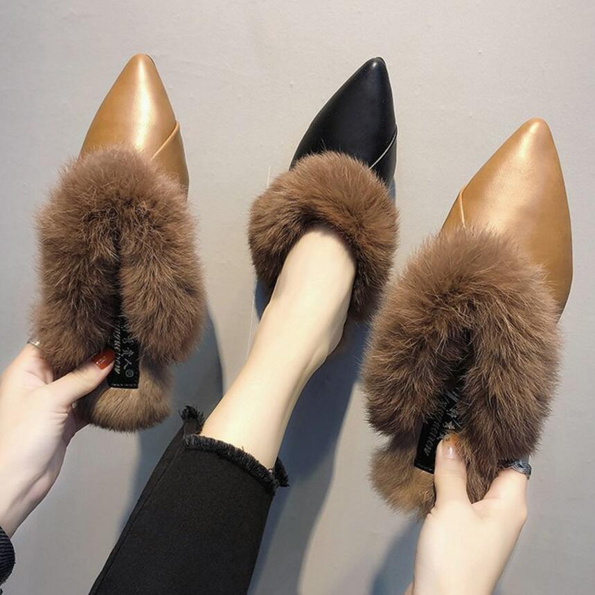 cace03449388 rabbit fur slippers women closed pointed toe leather flip flops ladies flat heel  furry slides shoes woman cozy plush mules y786-in Slippers from Shoes on ...