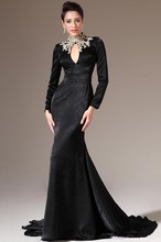 2014 Winter Latest New Fashion High Quality Mermaid Long Sleeve sexy black velvet evening dress long sleeve EDM-0069