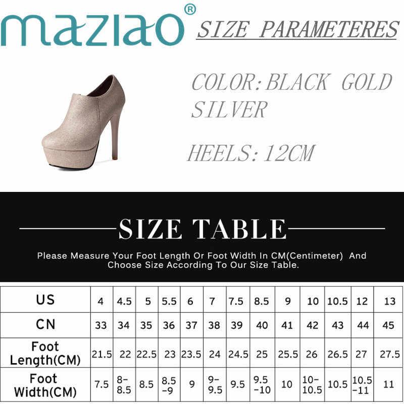 Yarım çizmeler kadınlar platformu yüksek topuklu kadın yan fermuar pompası kısa çizme zarif yuvarlak ayak Sequins Bling MAZIAO