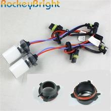 Rockeybright 35W araba HID Xenon kafa lambası ampulleri BMW 3 serisi için E39/528 525 hid ampul + H7 hid ampul tutucu soket adapterlamp taban