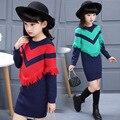 Девушки свитер весна полосатый пуловер майку детей свитер для девочек вязание шаблон кисти трикотаж одежда для девочек