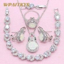 8e7e0a173efb Exquisito blanco crear ópalo 925 Plata joyería conjuntos para mujeres  collar pendientes anillo pulsera caja libre WPAITKYS