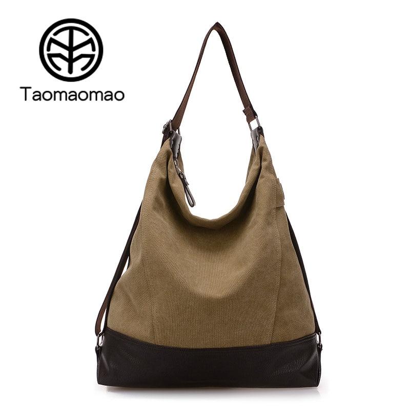 Taomaomao Woman Canvas Bag Women Canvas Sling Shoulder Bags For Women Handbags Patchwork Bolsa Feminina Casual Travel Bag WH571
