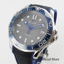 Popularny męski zegarek automatyczny niebieski Bezel szafirowe szkło szara tarcza z Logo BLIGER o średnicy 41mm w Zegarki mechaniczne od Zegarki na