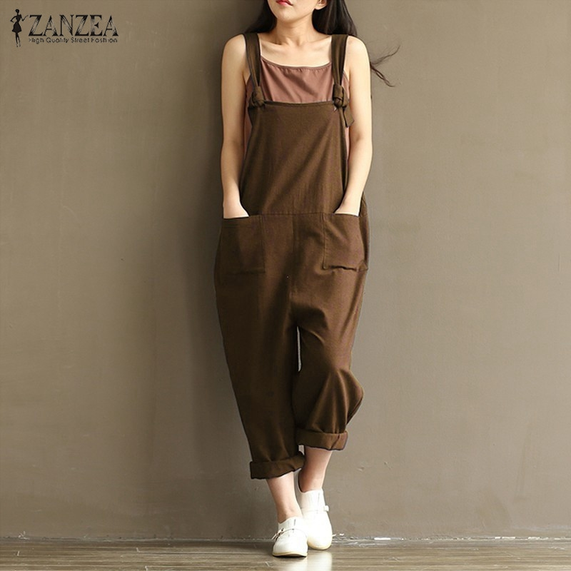 2018 ZANZEA Rompers Womens Jumpsuits Casual Vintage Ermeløs Backless Casual Loose Solid Overalls Stroppløs Paysuits Plus Size
