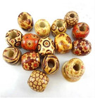 Antique printing pattern painted wood beads DIY jewelry accessories loose beads handmade beaded 100pcs/set Beads