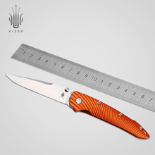 Kizer folding knife survival knife Ki4419A1 special Aluminum handle outdoor camping knife useful hand tools patterned liner lock folding knife with aluminum alloy handle