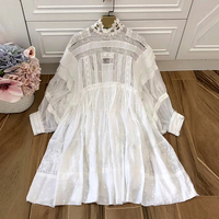New Summer 2018 Women S Heavy White Lace Patchwork Embroidery Dress Elegant Beauty Perspective Short Loose