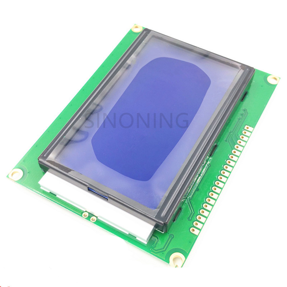 12864-5V LCD Screen Display With Backlit Blue Screen With Font