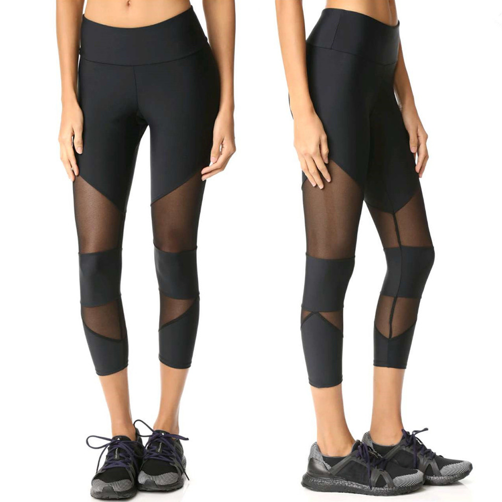 Womail Brand Lowest Price Sport Leggings Women Skinny Leggings Patchwork Mesh Yoga Leggings Fitness Sports Capri Pants