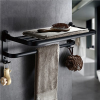 Xueqin New Aluminum Foldable Black Wall Mounted Bathroom Towel Rack Towel Holder Foldable Towel Shelf 2 Types