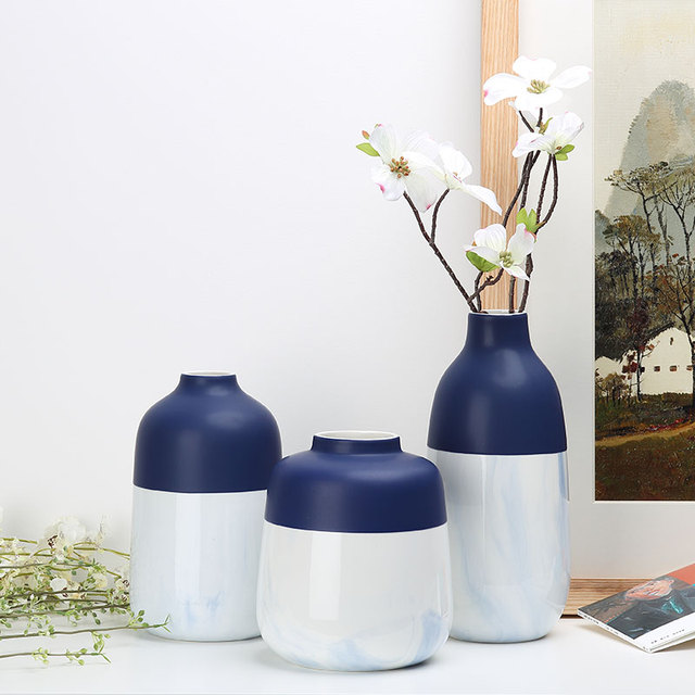 The Blue Vases Ceramic Tabletop Hand Painted Vase Low Bone Home