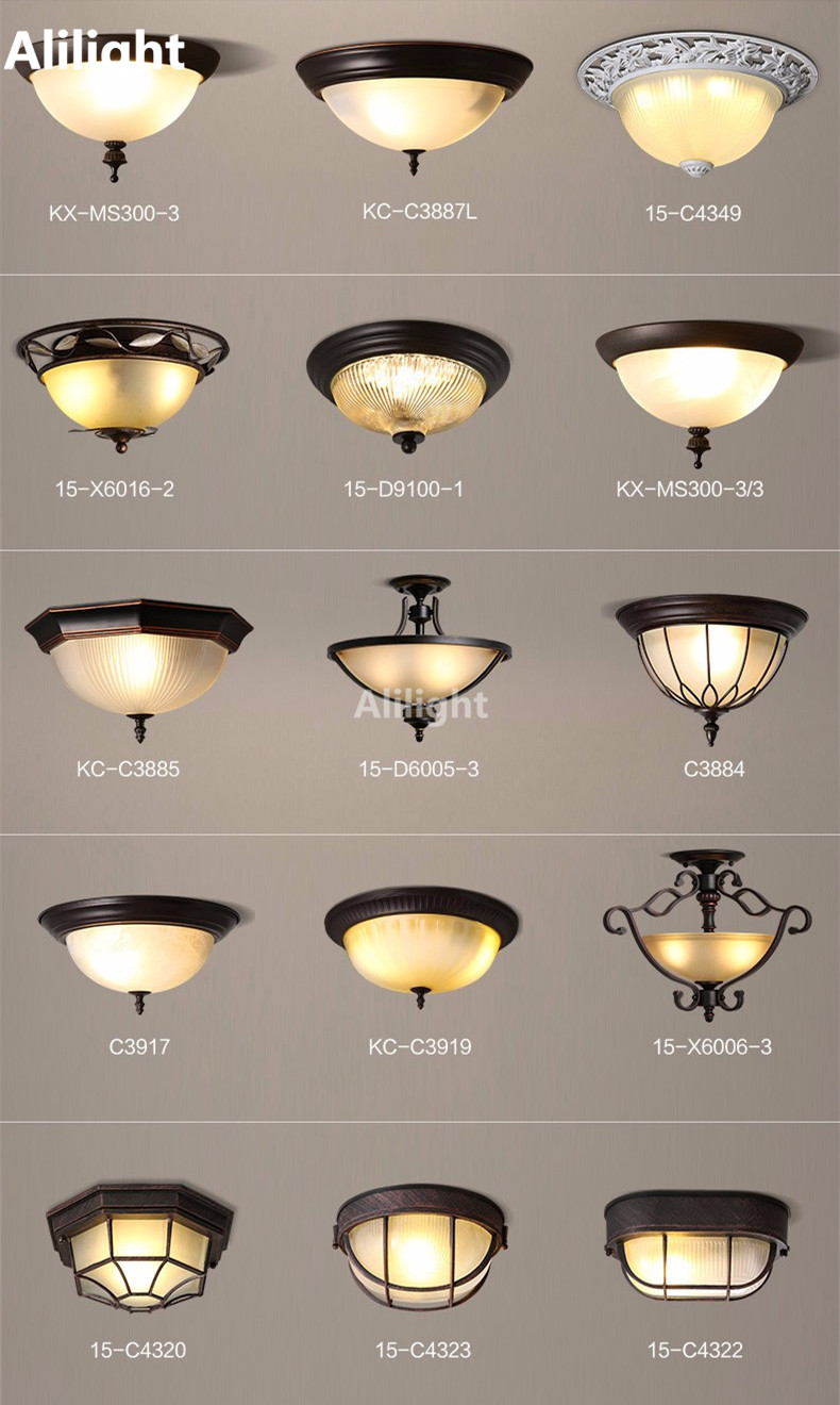 Retro american country led ceiling light fixture metal housing payment arubaitofo Choice Image