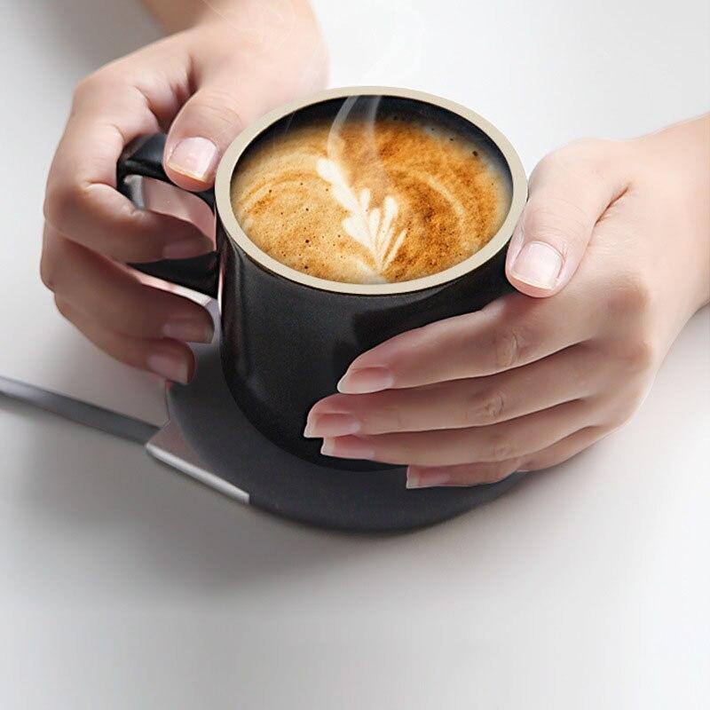 100 240 В Подогрев чашки коврик теплый коврик для кофе молоко водонагреватель подстаканник Настольный отопительный инструмент беспроводной зарядный термостат - 3