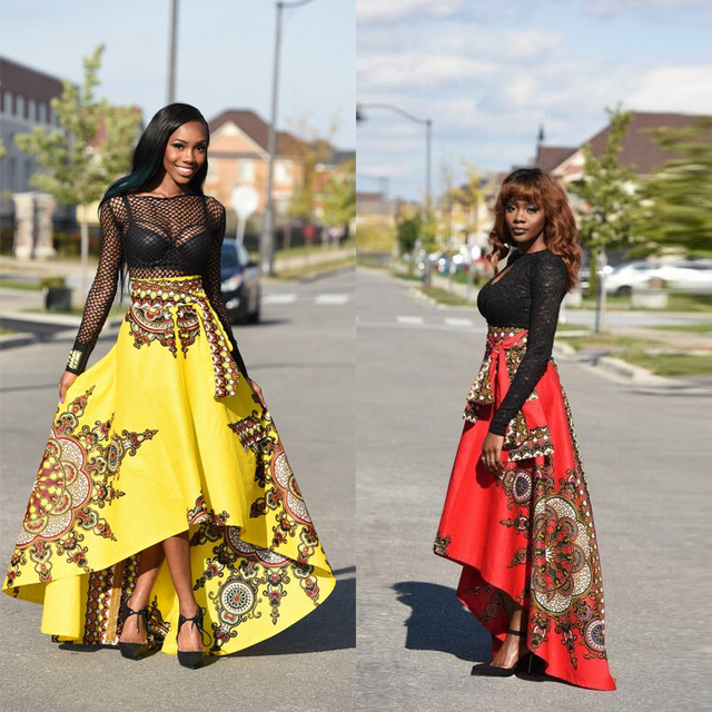 New Arrival Yellow Red Flower Print Long Skirts Patterns Bohemia Stunning African Skirts Patterns