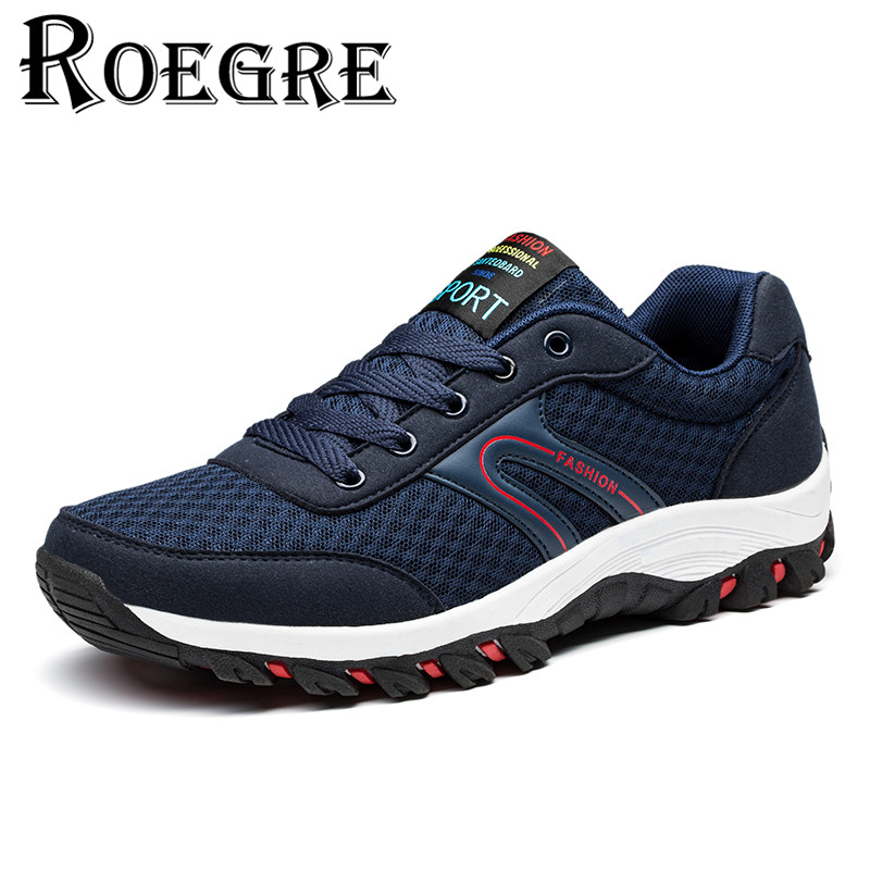ФОТО ROEGRE Breathable Air Mesh Men Casual Shoes 2017 New Fashion Men Outdoor Lace Up Trainers Blue Black Good Quality