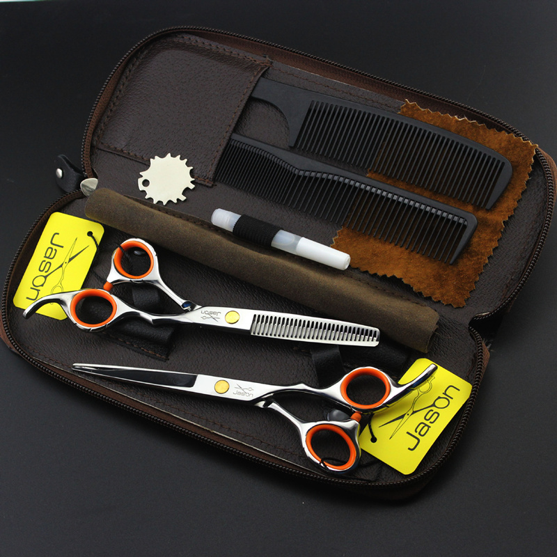 2 Scissors+Bag+Comb Japan High Quality Jason 5.5/6.0 Inch Professional Hairdressing Scissors Hair Cutting Barber Shear Set Salon