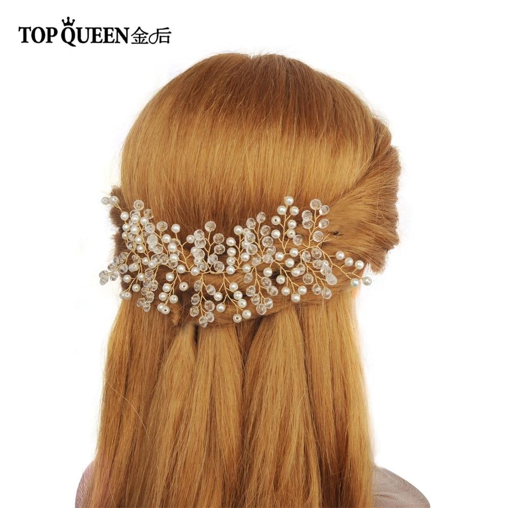 TOPQUEEN HP112 Bridal Headdwear Women Girls Wedding Hair Accessories Handmade Beaded Crystal And Pearls Prom Headdress