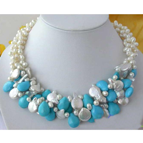 все цены на Perfect Pearl Jewellery,3 Rows 6-14mm White Color Freshwater Pearl Blue Drip Tur-quoise Necklace,Fashion Women Jewelry Gift онлайн