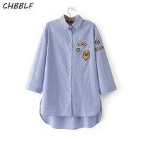 Nova primavera Européia Camisa Tarja Moda de Três Quartos Blusa Com Renda Apliques Blusa Feminina Wdf042