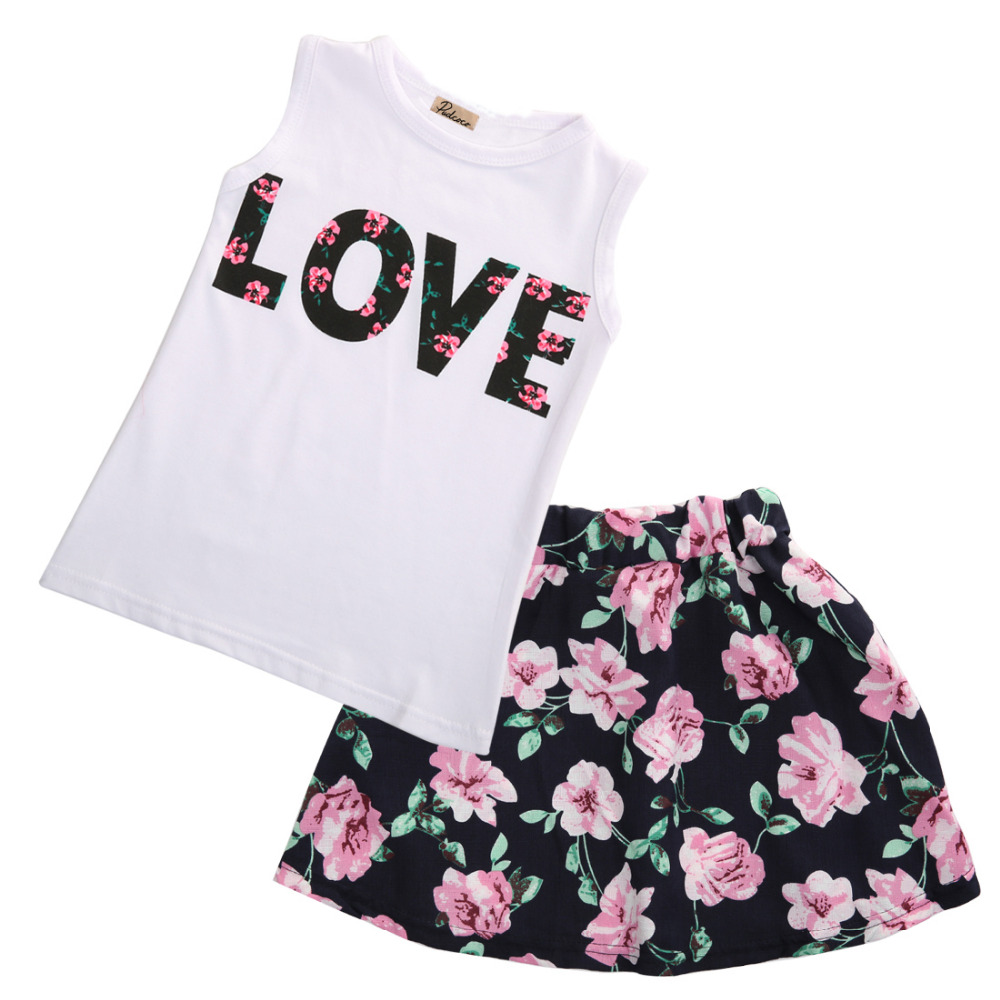 2PCS Toddler Infant Floral Baby Kids Girl Dress Sleeveless Casual Top T Shirt Skirt Outfit Set Clothes