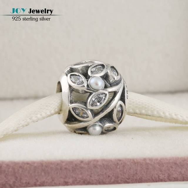 Fit Brand Bracelet DIY Original 925-Sterling-Silver Freshwater Pearls Clear CZ Leaves Openwork Charms Beads For Jewelry Making