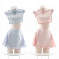 Lolita Cute Cheongsam Lingerie Anime Cosplay Costume Women Sexy Chinese Qipao Babydoll Sexy Maid Costume Pink Blue
