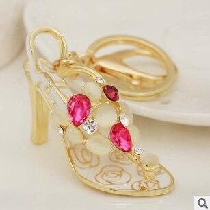 Opal pearl crystal enamel High heels keychain/korean luxury jewelry bag accessories/chaveiro/llaveros women/porte clef strass