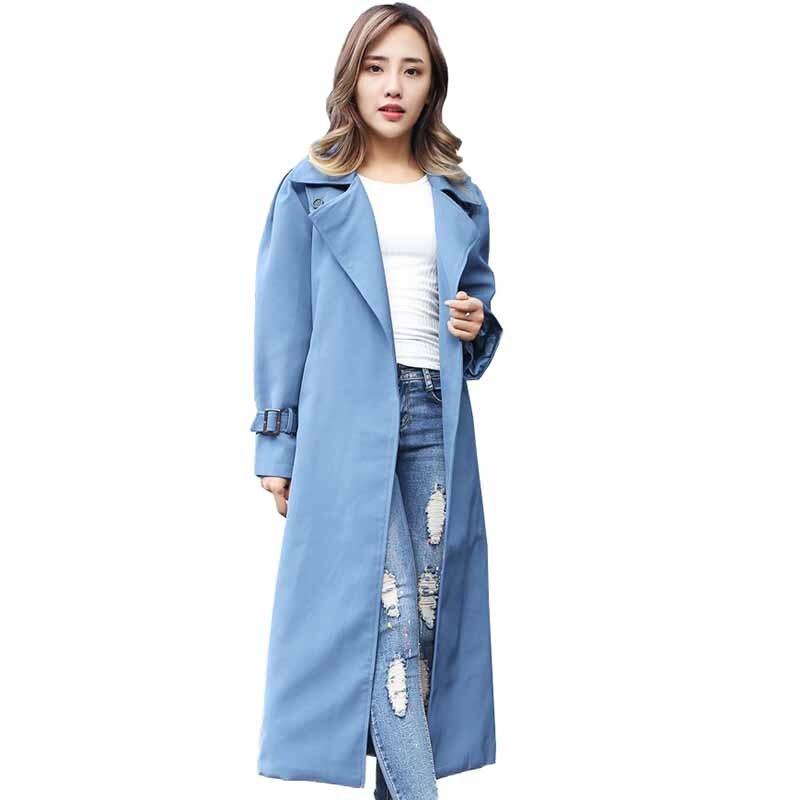 Fashion   trench   coat women Plus size XXL-5XL Spring autumn 2019 No button long Windbreaker female belt Casual tops   trench   G134