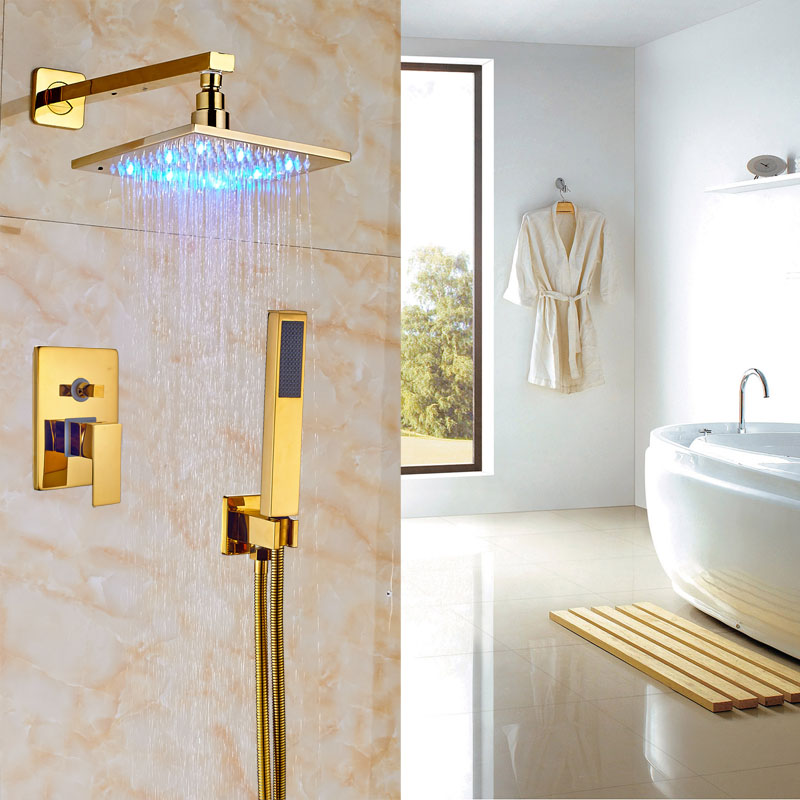 Luxury Gold Polished Shower Faucet Wall Mount Bath 8\
