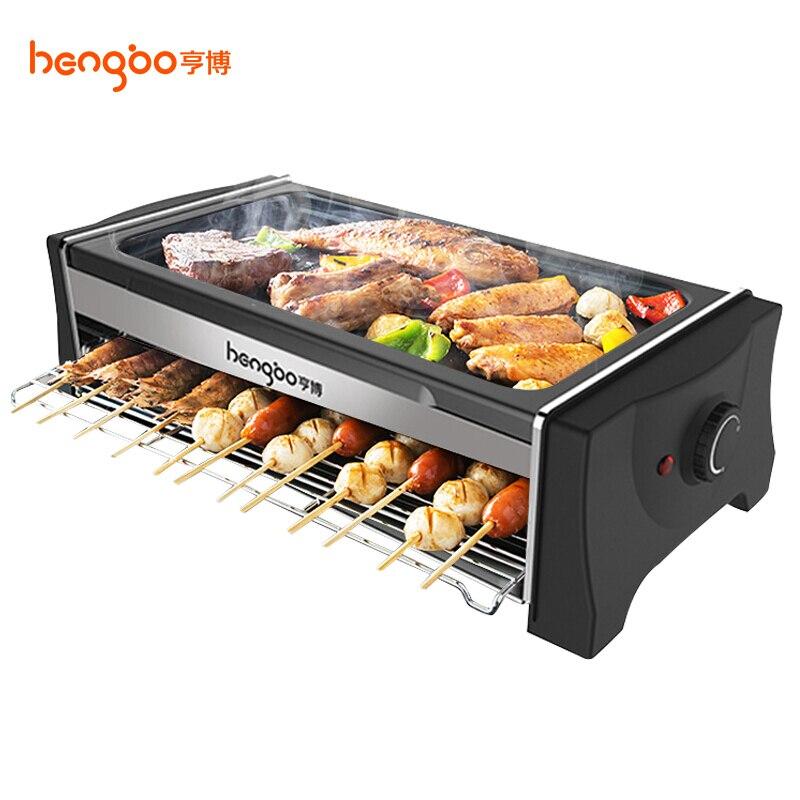 Hengbo rôtissoire électrique gril domestique sans fumée anti-adhésif multi-fonction plancha Barbecue Barbecue Double couche plaque de cuisson