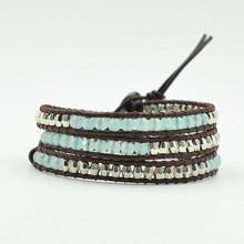 Women Beads Leather Bracelet Natural Stones Blue Beaded 3 Strands Woven Wrap Bracelets Bohemian Dropship