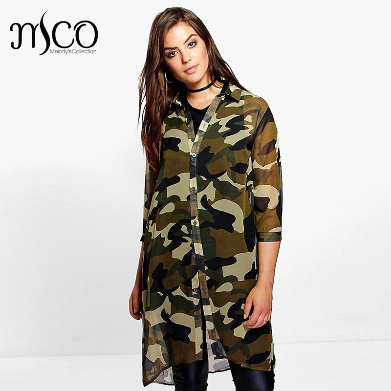 7e1e7d4263f 2018 Spring Street Camo Print Plus Size Women Clothing Casual 3 4 Sleeves  Beach Oversized