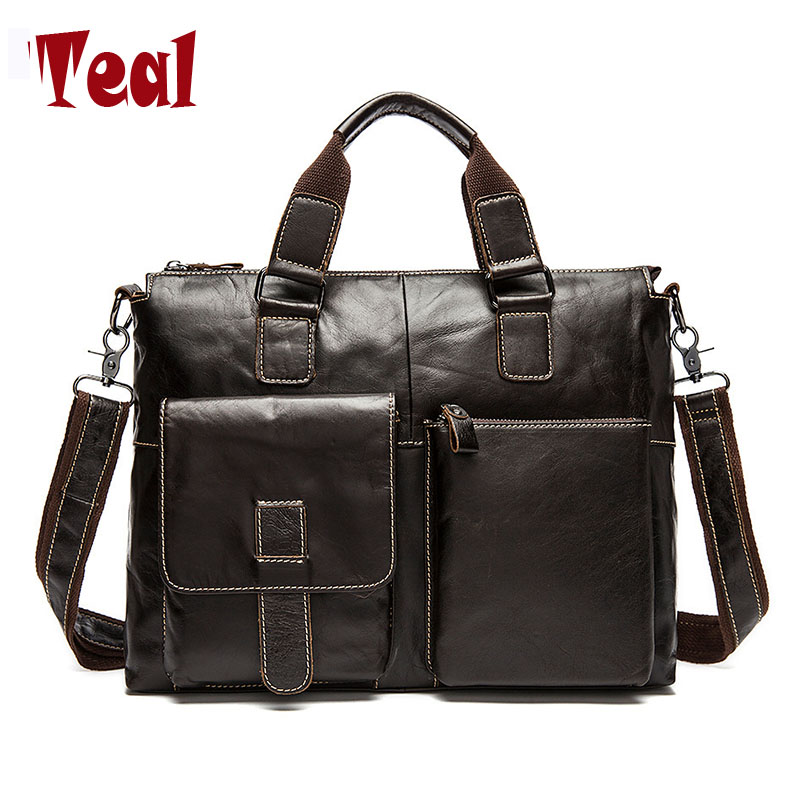 New fashion men bag men's Genuine Leather briefcase handbag vintage laptop bag luxury male business High capacity casual bags new high quality leather men laptop briefcase bag 14 inch computer bags handbag business bag fashion laptop handbag for men