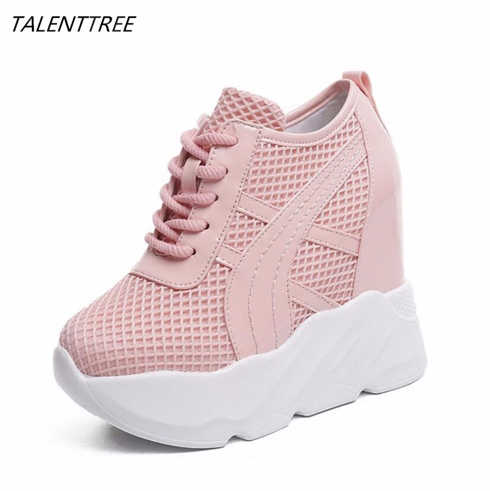 2018 spring Women mesh Platform Shoes Wedges fashion Lace Up Casual Shoes Women's High Heels Shoes Femme Platform shoes mujer 2017 hot fashion loafers women casual shoes new breathable mesh flat platform women comfortable wedges heels shoes zapatos mujer
