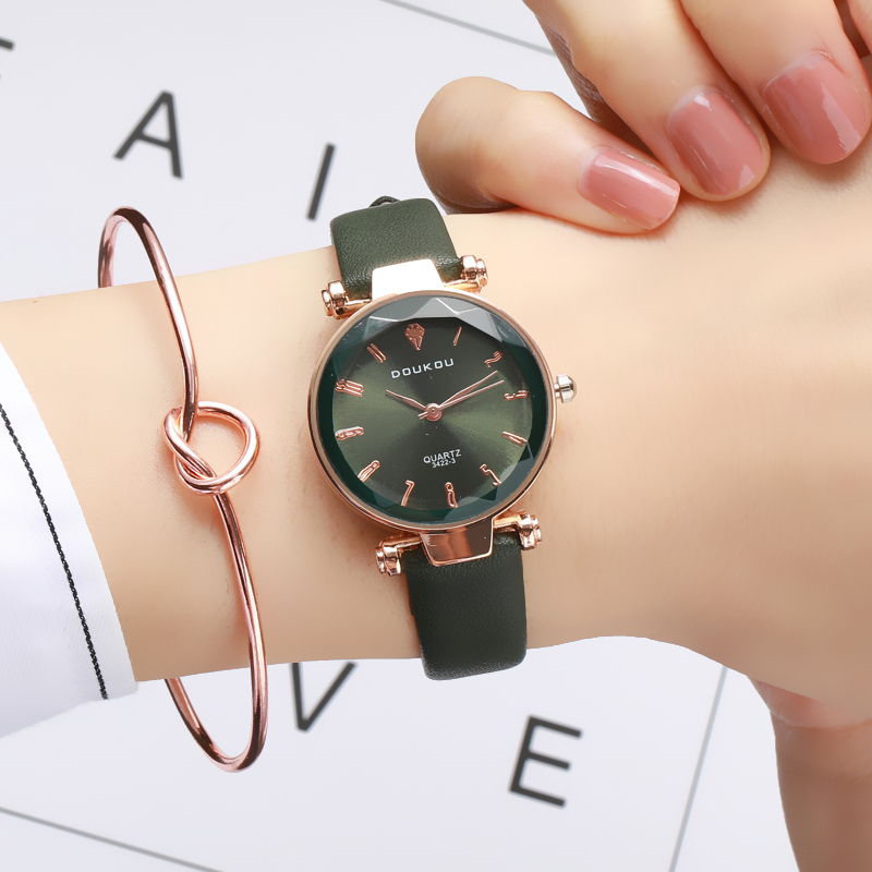 New Brand Fashion Rose Gold Leather Watches Leather Women Ladies Casual Dress Quartz Wristwatch Reloj Mujer Free Shipping